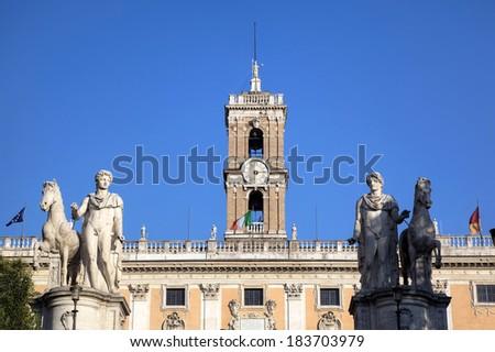 Palazzo Senatorio at Capitoline Hill. Roma (Rome), Italy - stock photo