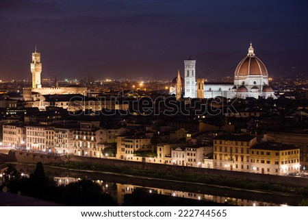 Palazzo Vecchio and Cathedral of Santa Maria del Fiore (Duomo) at night, Florence, Italy
