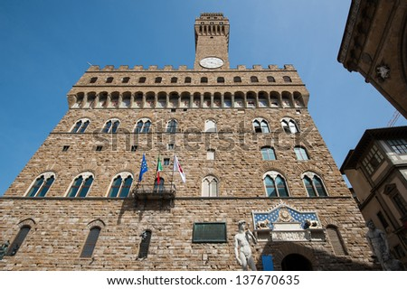 Palazzo Vecchio in Florence, Italy. Palazzo Vecchio is a World Heritage Site in Tuscany.