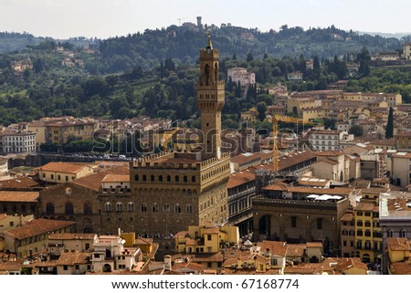 Palazzo Vecchio in Florence Italy seen from the top of the cathedral bell-tower. August 2010