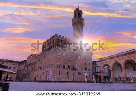 Palazzo Vecchio or Palazzo della Signoria in Florence, Italy. - stock photo