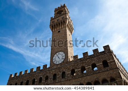 Palazzo Vecchio view in Autumn, Florence, Italy