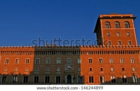 Palazzo Venezia in Piazza Venezia at sunset, Rome, Lazio, Italy - stock photo