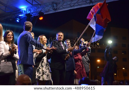 PALE, BOSNIA AND HERZEGOVINA - SEPTEMBER 25: Milorad Dodik greets fans in Pale after meeting and referendum on the National Day of Republika Srpska on September 25, 2016.
