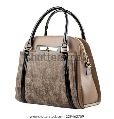 Pale brown female leather handbag isolated on white background.  - stock photo