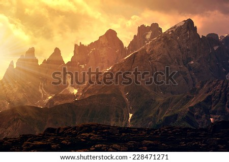 Pale di San Martino at sunset, Dolomites - Italy - stock photo