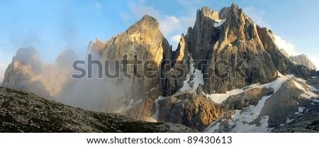 pale di san martino - dolomiti italy - view of cima di focobon - stock photo