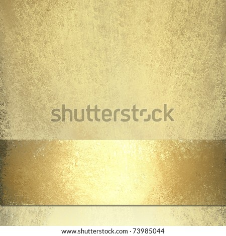 pale gold background design layout with shiny gold bronze ribbon stripe on bottom edge, soft grunge sponge texture, highlights, and copy space for title or text - stock photo