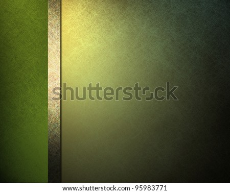 pale light and dark green background with yellow gold highlight and ribbon stripe in website template layout or formal classic menu backdrop with copyspace for St. Patricks day - stock photo