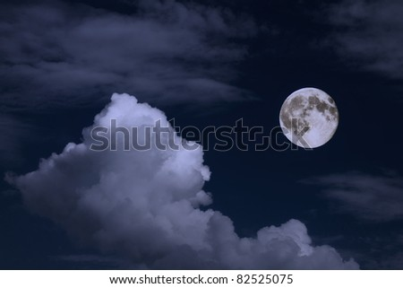 pale moon on the dark blue sky
