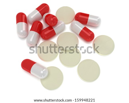 Pale of medical half red half white pill capsules and round tablets. 3d render. Pills, drugs, medicine, healthcare concept - stock photo