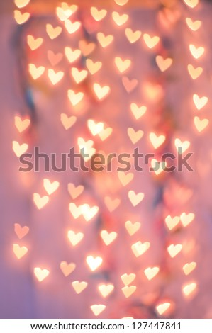Pale Pink Heart Bokeh on a pale Background - stock photo