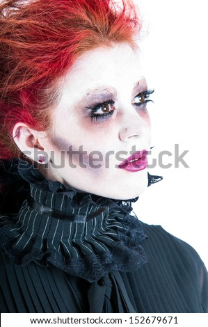 Pale white face of a victorian ghost woman isolated against a white background. - stock photo