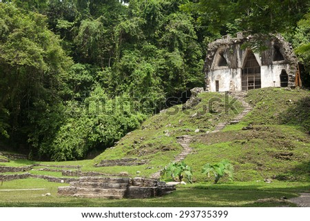 Palenque Mayan ruins, Chiapas, Mexico - stock photo