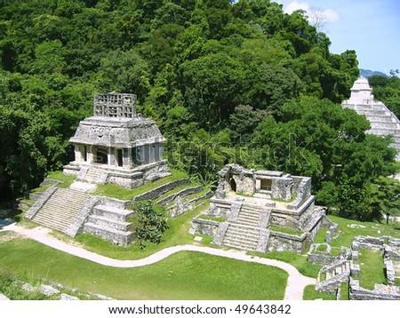 Palenque mayan ruins maya monuments Chiapas Mexico - stock photo