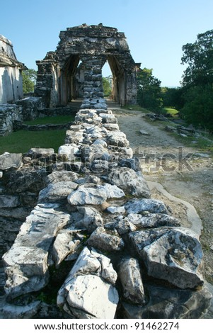 Palenque mayan ruins - monuments Chiapas Mexico - stock photo