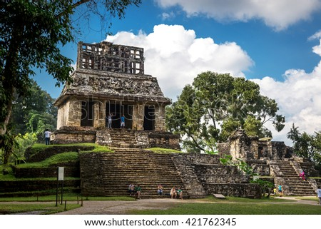 Palenque, Mexico - January 20th 2014 - Tourists enjoying the ruins of Palenque in a blue sky day in Mexico,