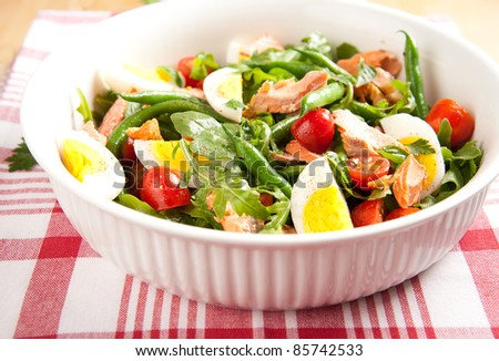 Paleo Diet Style Green Bean Salad with Boiled Eggs, Salmon, Tomatoes and Arugula