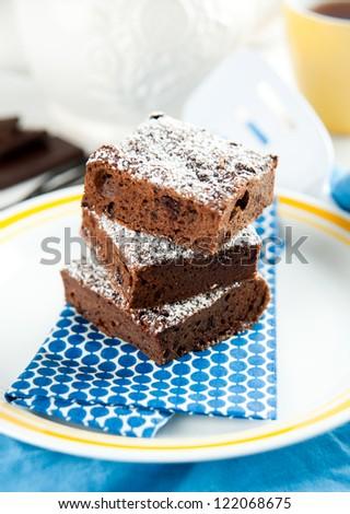 Paleo Style Brownies with Dark Chocolate and Gluten Free - stock photo