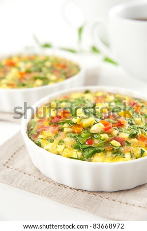 Paleo Style Flour-less Quiche with Lots of Organic Vegetables and Bacon - stock photo
