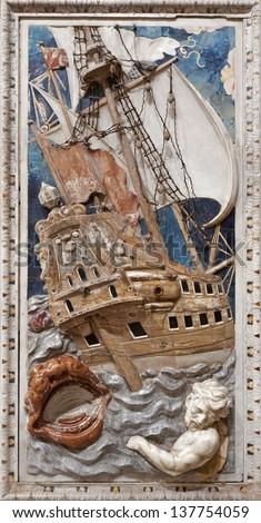 PALERMO - APRIL 8: Baroque relief of scene from prophet Jonah in church Chiesa di Santa Caterina build in years 1566 - 1596 April 8, 2013 in Palermo, Italy. - stock photo