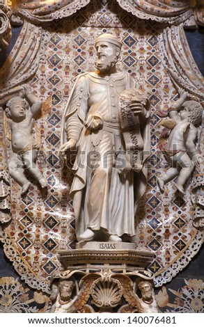 PALERMO - APRIL 9: Baroque statue of prophet Isaiah  from chapel on the north side of Monreale cathedral on April 9, 2013 in Palermo, Italy. - stock photo