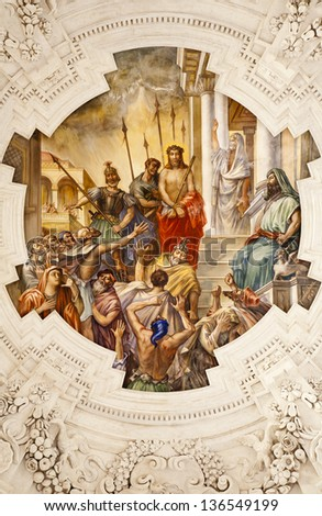 PALERMO - APRIL 8: Fresco of Jesus for Pilatus scene on ceiling of side nave in church La chiesa del Gesu or Casa Professa. Baroque church was completed in  1636 on April 8, 2013 in Palermo, Italy. - stock photo