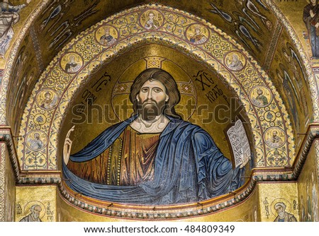 PALERMO - August 13: interior of Santa Maria Nuova cathedral in Monreale, Italy.It is famous by mosaic of Christ Pantocrator:August 13,2016 in Palermo,Sicily, Italy