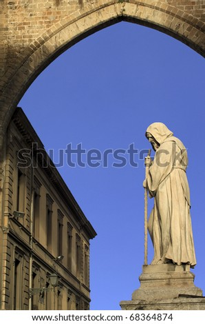 Palermo cathedral architectonic detail: monk statue under arch - stock photo