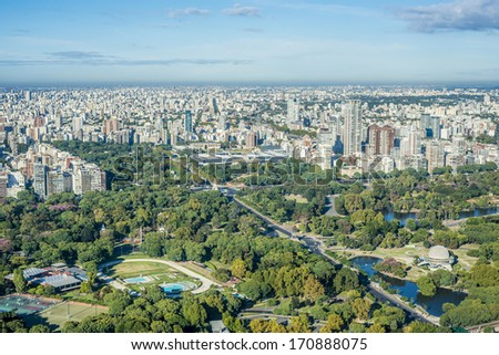 Palermo gardens bird eye view in Buenos Aires, Argentina. - stock photo