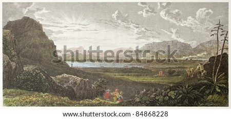 Palermo gulf, old view from Favorita gardens. Created by De Wint and Heath, printed by McQueen, publ. in London, 1821. Ed. on Sicilian Scenery, Rodwell and Martins, London, 1823. - stock photo