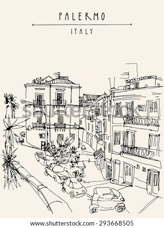 Palermo, Italy, Europe. Artistic illustration. Travel sketch drawing. Vertical monochrome poster, postcard template. Copy space, hand lettering. Historical buildings, town square, car park, palm trees