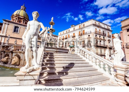Palermo, Italy. Monumental Fontana Pretoria in Piazza Pretoria, heart of the historic capital of Sicily.