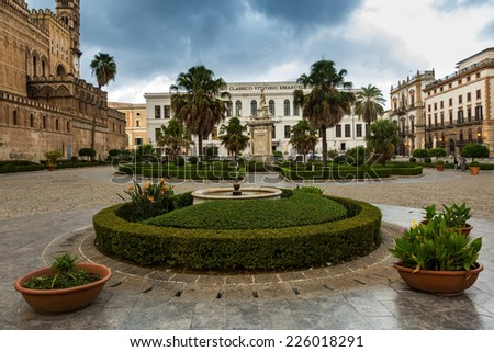 PALERMO, ITALY - OCTOBER 22, 2014: Metropolitan Cathedral of the Assumption of Virgin Mary; cathedral church of the Roman Catholic Archdiocese of Palermo, located in Palermo. - stock photo