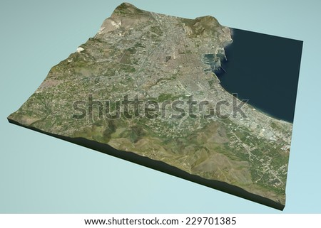 Palermo, satellite view, map, Sicily, Italy. Element of this images are furnished by NASA - stock photo