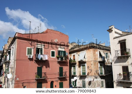 Palermo, Sicily island in Italy. Old town street view.
