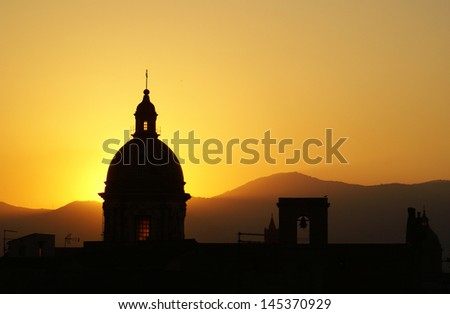 Palermo view at sunset with cathedral dome  - stock photo