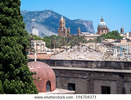 Palermo with panoramic views of the Cathedral and Hermits dome - stock photo
