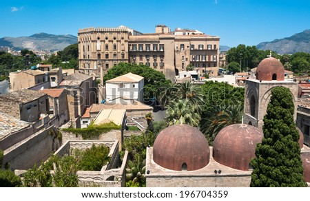Palermo with panoramic views of the Norman palace and San Giovanni Eremiti domes - stock photo