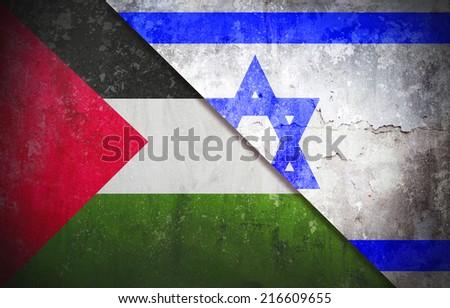 Palestine confrontation Israel concept War flag grunge vintage retro style - stock photo