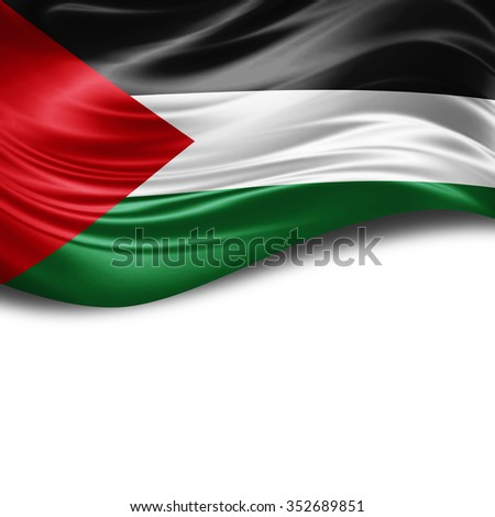 Palestine flag of silk with copyspace for your text or images and White background