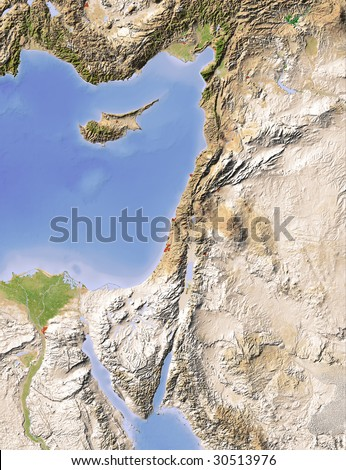 Palestine. Shaded relief map. Surrounding territory greyed out. Colored according to elevation. Includes clip path for the land area. - stock photo