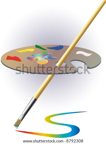Palette and brush. - stock photo
