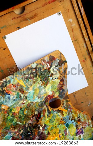 palette and paper - stock photo