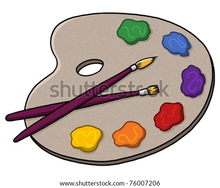 Palette illustration; Paints and brushes; Isolated artist palette