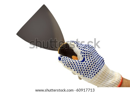 palette-knife in hand isolated on a white background - stock photo