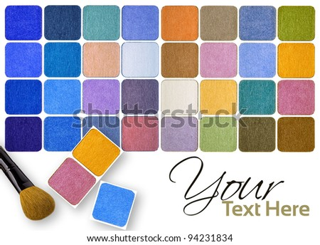 Palette of colorful eye shadows and brushes multicolour background - stock photo