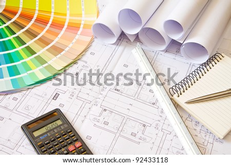 Palette of colors designs on architectural drawings, stuff - stock photo
