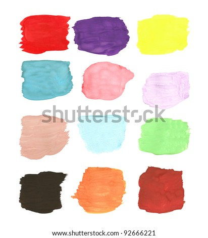 palette of colors watercolor brush strokes - stock photo
