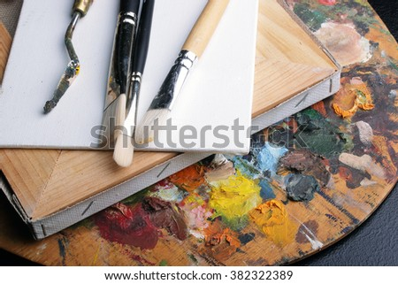 palette of oil paints